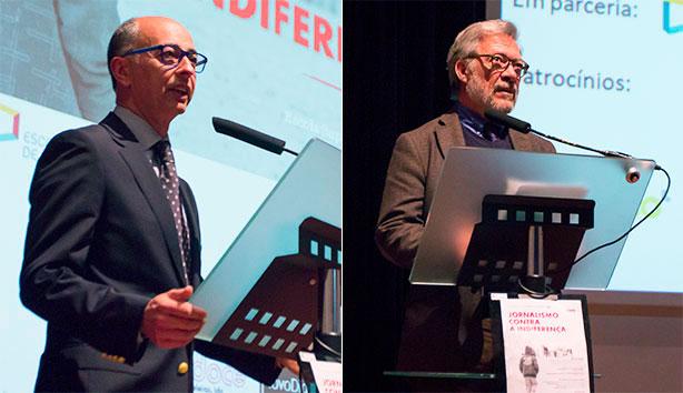 O Prof. Doutor Jorge Veríssimo, Presidente da ESCS, e o Doutor Fernando Nobre, Presidente da Fundação AMI, abriram a sessão.